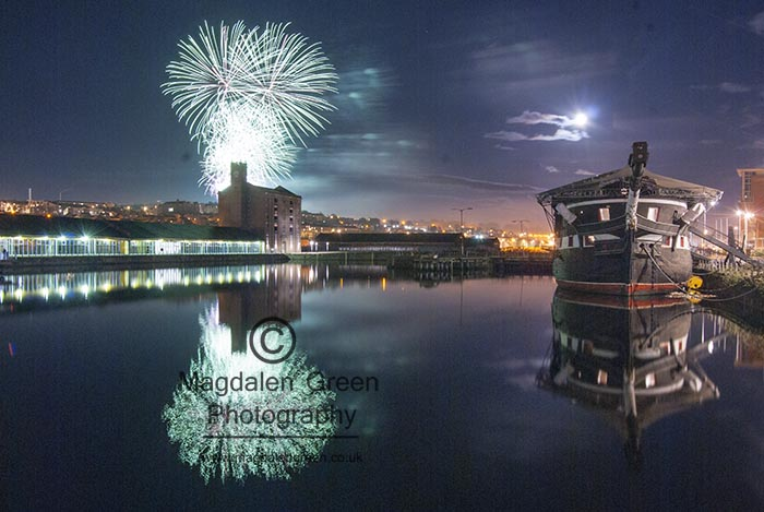 Image of Unicorn and Fireworks City Quay Dundee