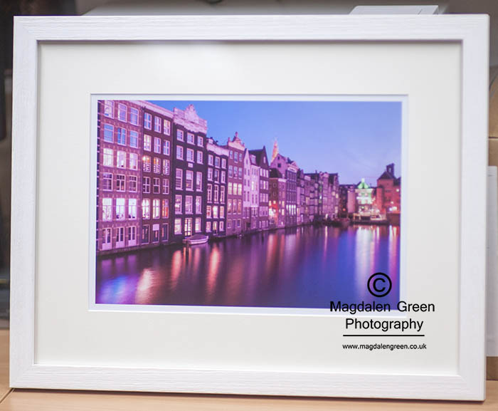 Amsterdam - Damrak Night View  - Framed A3 Print