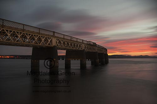 Image of Tay Rail Bridge - Long Exposure - Simple Sunset View - Dundee Scotland