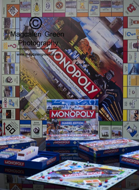 Dundee Monopoly - Product Launch - Dundee Scotland - several of my images were used for marketing and board game purposes for the Dundee Version of the famous Monopoly board game - had great fun  seeing the finished product on display at a launch party .. quite chuffed too!