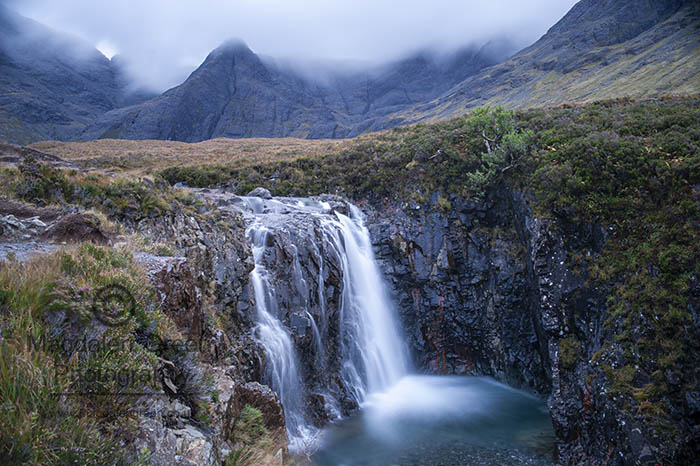 Image of Fairy Pool and Cuillin Mountains - Magical Landscape - Isle of Skye Scotland