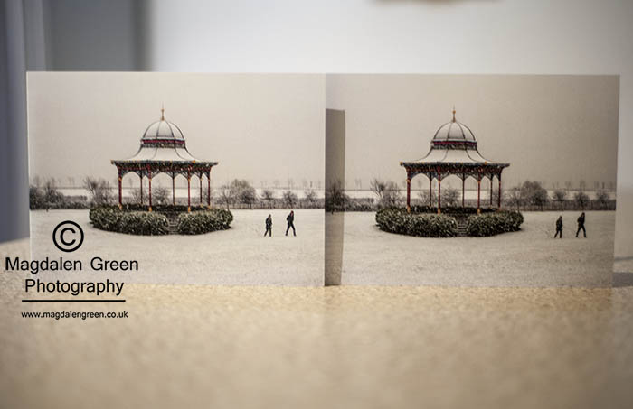 Image of Magdalen Green Bandstand  Winter Scene Christmas Card - Dundee
